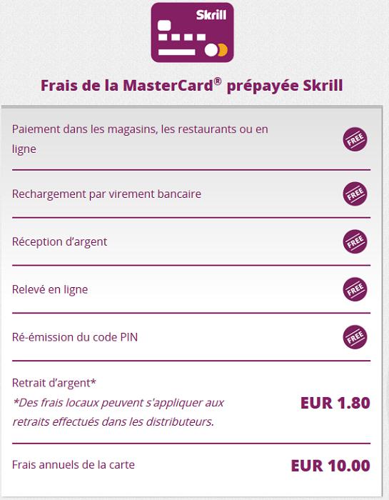 frais carte mastercard skrill