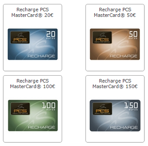 recharge carte PCS Mastercard