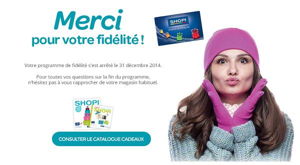 catalogue cadeaux fidélité carte SHOPI