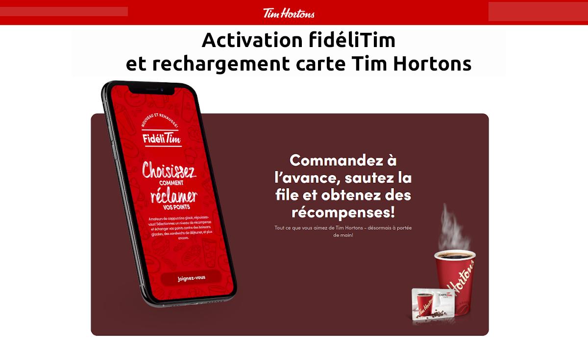 activation carte Tim Hortons fidéliTim