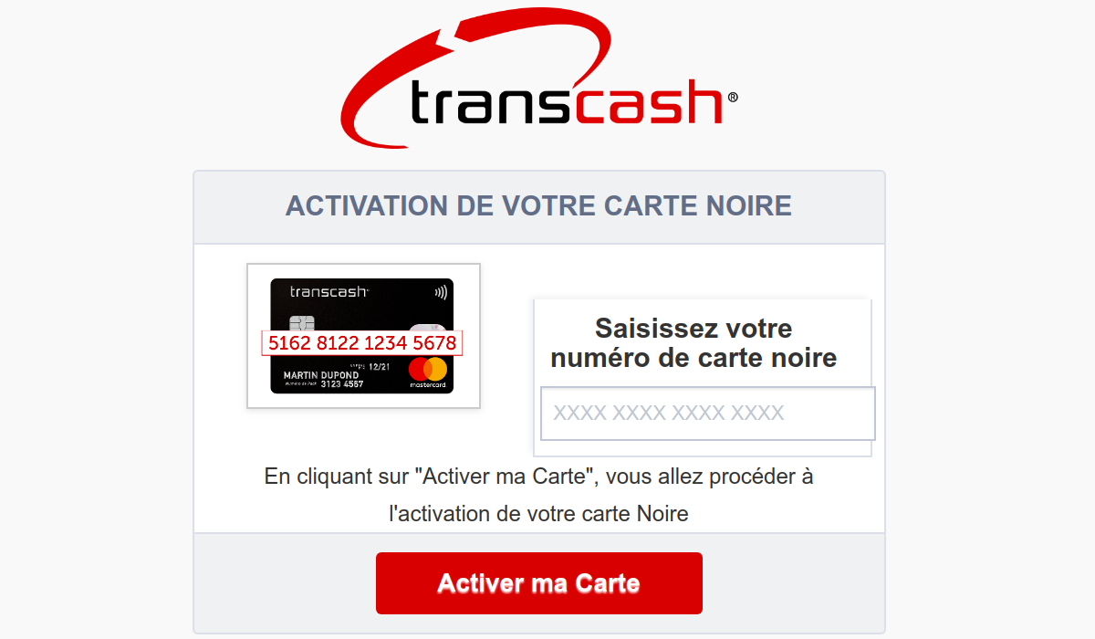 activation carte Transcash