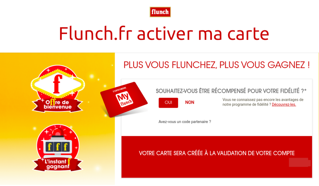 flunch.fr activer ma carte